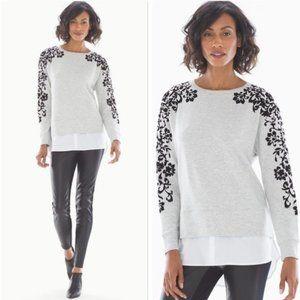 Soma Gray Flocked Layered Look Sweatshirt Size M